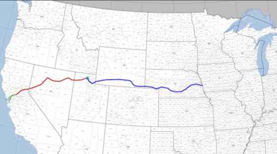Route of the first Transcontinental Railroad. Image from Wikipedia